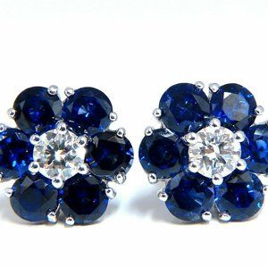 6.28ct Natural Sapphire Diamonds Floretta Cluster